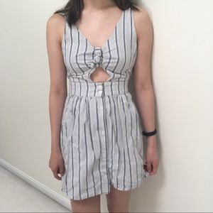 Cut-out tie striped sundress